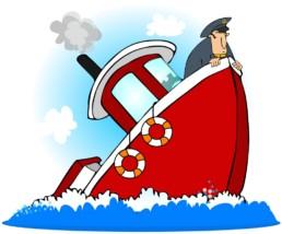 cartoon sinking ship