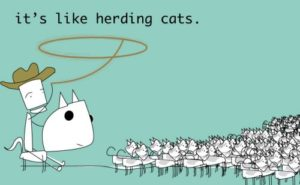 cartoon man herding cats