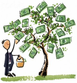 man picking money from a tree
