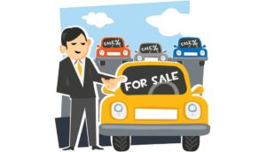 cartoon man next to car for sale