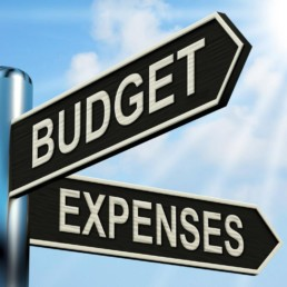 Budget and expenses sign