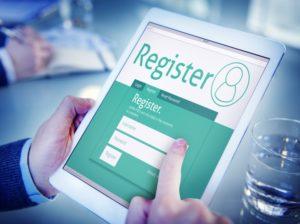 registration page on ipad